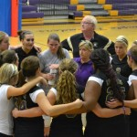 TOP COACH -- Coach Robin Moore huddles up with her Central girls.