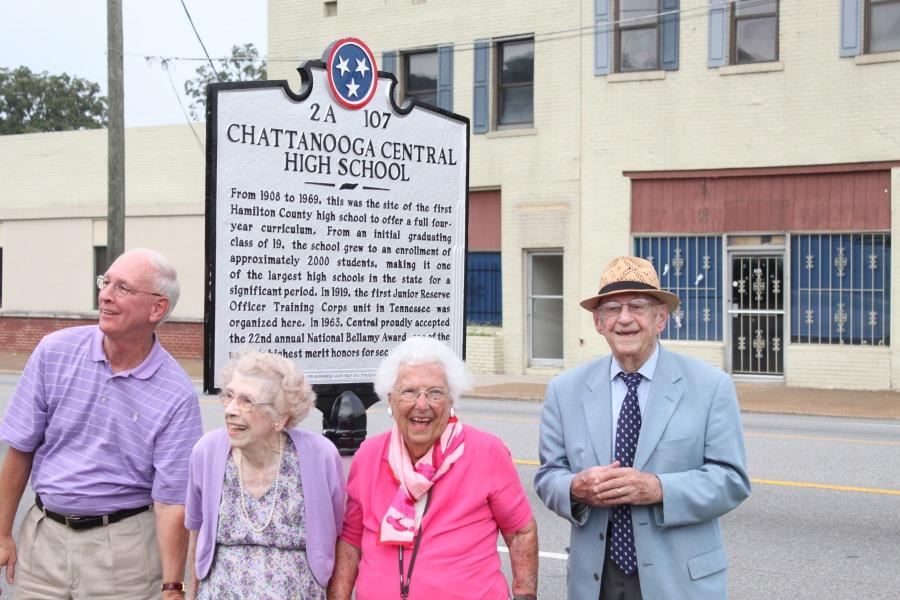 MARKING HISTORY -- Members of the unveiling team show off the new Central High historical marker near the McCallie campus on Dodds Avenue, including (left to right) Mr. Ronnie Tucker, Mrs. Mary Josephine Belivaqua, Miss Bobbie Ruth Hodge, and Mr. Luther Massingil.