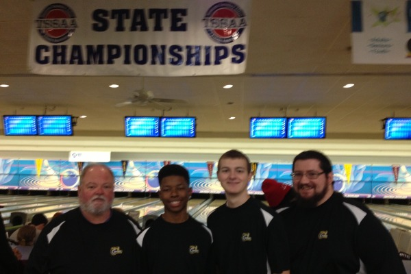 BOWLING FOR CENTRAL -- (Left to right) Coach Allen, Reggie Long, Tanner Robinson, Coach Potter at the State Bowling tournament