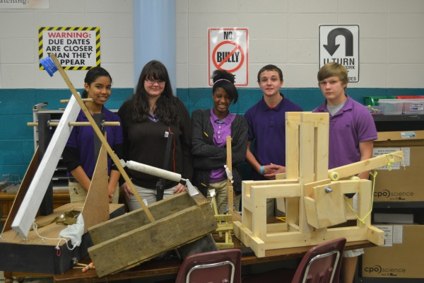 AWARD WINNERS -- Strickland's 9th grade physics class winners(Left to RIght) Sheryl Monteregro, Krissy Braun, CharNrece Clark, Dylan Rowe, Jaxson Brown