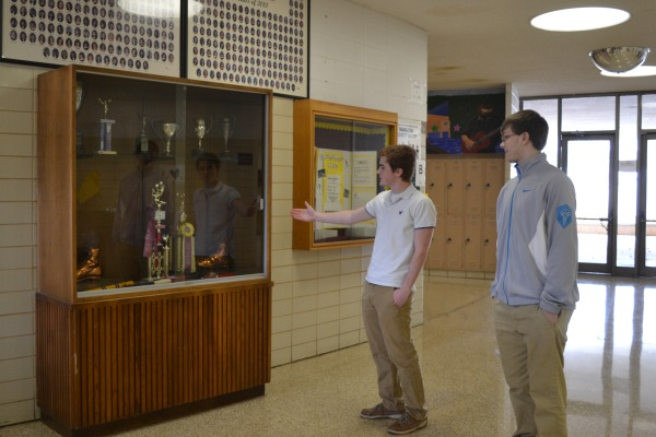 TAKING THE TOUR -- Chase Kelly is showing Bret Hardy around Central.