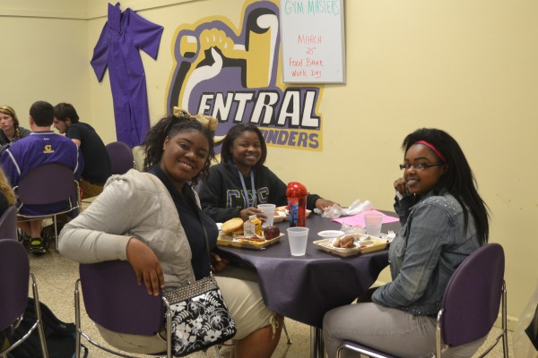 READY TO GRADUATE-- De'Vora Harris, Ta'liese Welles, and Raven Goodwin enjoying their lunch in the Senior Dining Room