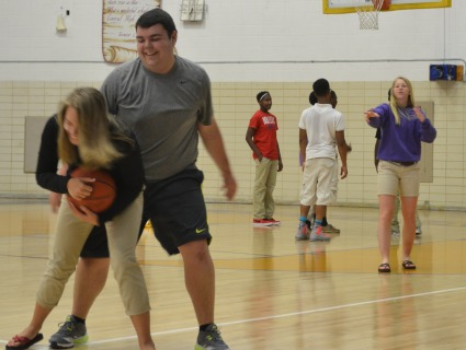 CENTRAL'S WELLNESS CLASS SHOWS THEIR COMPETITIVE SIDE----Emily Fiest, Alex Padavanna, and Brooke Parrot