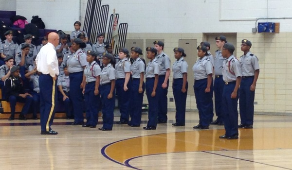 ATTENTION!! -- JROTC awaiting orders from Sergeant Major Lewis