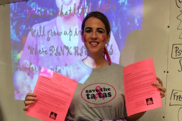 SAVE THE TATAS -- Ms. Lauren Thomas is excited for the opportunity to get her students involved in breast cancer awareness.