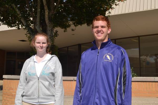 GINGER PALS -- Amber Haverlah and Brandon Lewis share their red-headed pride.