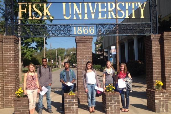 FISK COLLEGE TOUR --  From left to right: Katy Burnette, Terry Blackburn, Jr., Kaleb Cook, Esther Ryabchuk, Avionne Snakenberg, and Krista Carson.