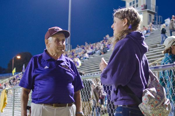 PURPLE PRIDE -- Connie Hay and Central Digest Copy Editor Jadyn Snakenberg at the Central-Howard homecoming game.
