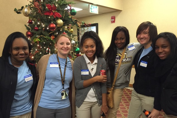 'TIS THE SEASON TO BE JOLLY -- A few Ruriteens took a picture together after finishing the East Ridge Life Care Center. (From left to right) Ayanna Esdaile, Ruriteen Sponsor Senorita Rebecca Feher, Brianna Forte, Antanisha Watkins, Ruriteen Treasurer Michelle Hoang, and Ruriteen President and Central Digest Writer Judith Bell.