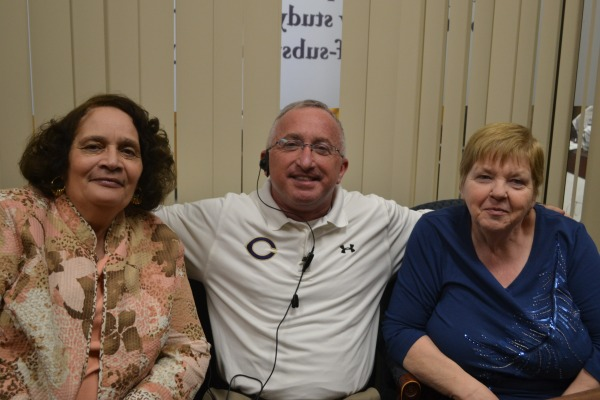THE BERMUDA TRIANGLE -- (from left to right) Mrs. Thomas, Mr. King, and Mrs. Rucker nickname their matching birthdays