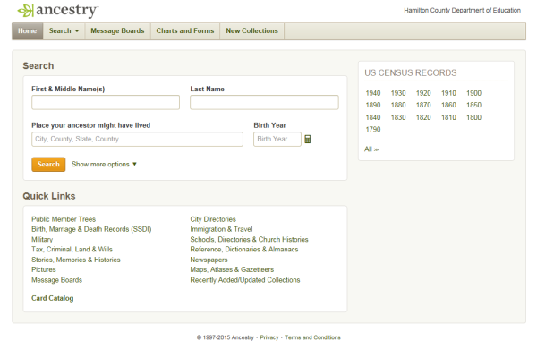GETTING STARTED -- The front page of ancestry.com is the first step in learning about your family tree.