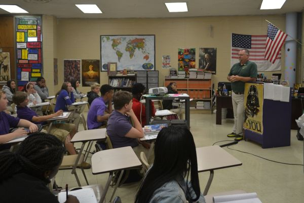 MR. KRIBS KEEPS STUDENTS ENTHRALLED WITH WITH HISTORY AND GEOGRAPHY -- Mr. Kribs teaches World History and Geography to freshmen pounders.