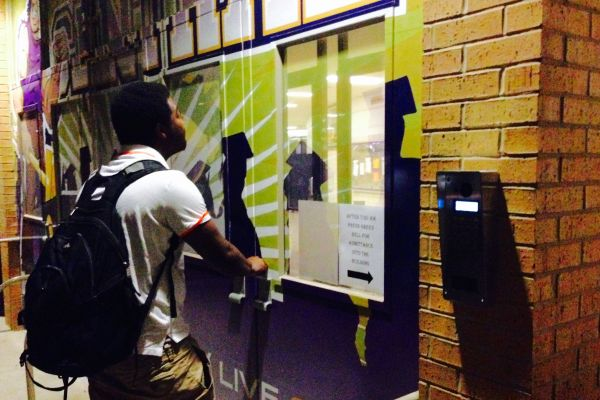 LOCKED OUT -- The new security system locks out strangers and occasionally Central students like Ruebin Thrasher.