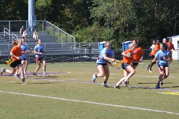 AN 11-YEAR WINNING STREAK -- The seniors beat the juniors 21-7 in Central's yearly Powderpuff game.