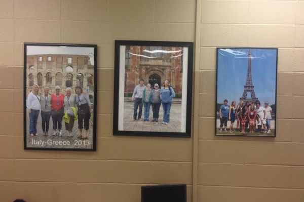 ALL AROUND THE WORLD  -- Psychology teacher, Tina Staton, has pictures in her classroom from her student trips across the world.