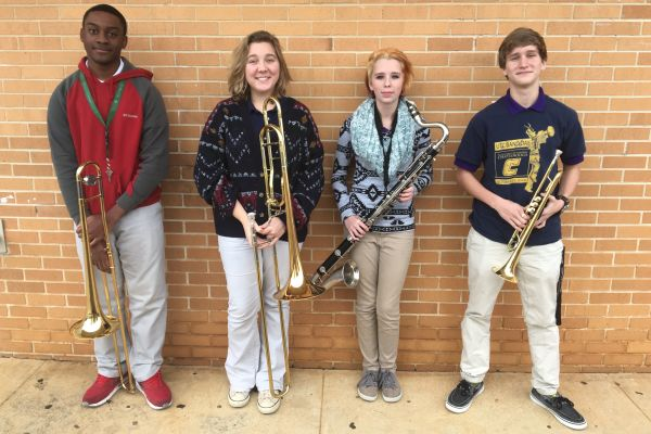 BAND STUDENTS PREPARE FOR ALL EAST BAND -- (left to right) Darius Campbell, Hannah Stone, Georgia Teems, and Joshua Bolton finished a long and hard practice.