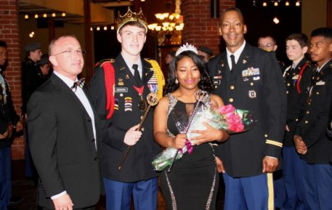 JROTC MILITARY BALL IS A SUCCESSFUL EVENT -- (left to right) Mr. Finley King, Jake Denton, Autumn Lloyd, and Col. Bill Brooks celebrate 2016 military ball honorary King and Queen.