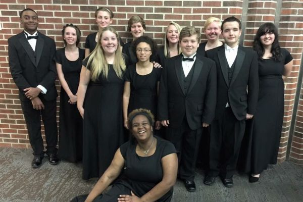 CENTRAL STUDENTS READY TO PLAY -- Central band members dressed in their concert attire and were ready to perform at UTC.