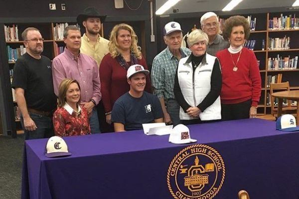 SENIOR TANNER MOWERY RECEIVES BASEBALL SCHOLARSHIP TO LYON COLLEGE-- Mowery's family joins him in Central's library to celebrate his scholarship.