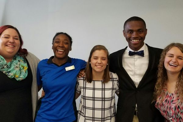ADVISORY COUNCIL OFFICERS -- from left to right -- Katie Stiffler (Webmaster), Monet Henderson (Secretary), Hannah McGrath (Vice Chairman), D'Andre Anderson (Chairman), and Jadyn Snakenberg (former Chairman)