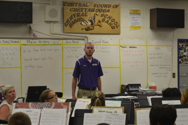 JOSHUA BLOODWORTH WINS EDUCATOR OF THE WEEK -- Band director Joshua Bloodworth teaches band students effective ways to play their instruments.