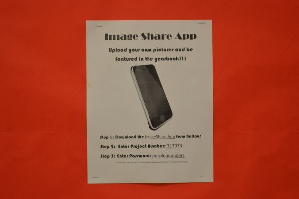 SHARE YOUR PICTURES NOW -- With the new image share app, students can upload photos for the upcoming yearbook.