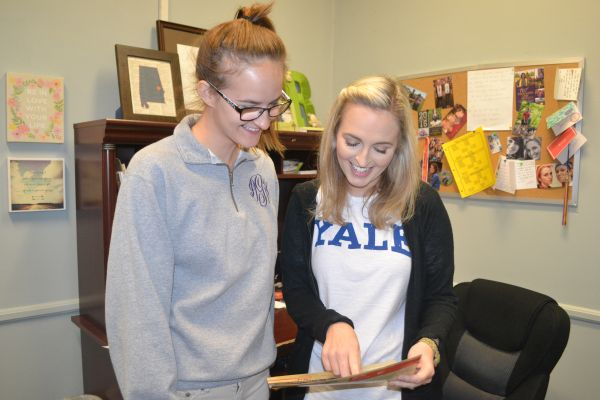 CENTRAL'S ACT SCORES HAVE IMPROVED-- Ms. Ruggles talks enthusiastically to senior Nikki Greene about the ACT scores.