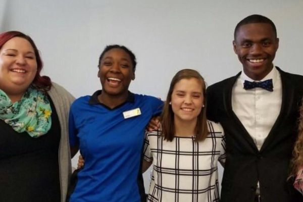 THE MEMBERS OF THE STUDENT COUNCIL -- (Left to right) Katie Stiffler, Monet Henderson,   Hannah McGrath, and chairman D'Andre Anderson