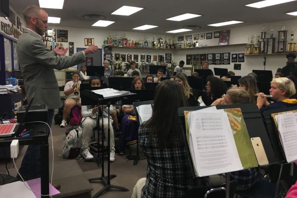JOSHUA BLOODWORTH IS NAMED THE TENNESSEE EDUCATOR OF THE MONTH FOR OCTOBER -- The Central Band Director, Joshua Bloodworth instructs the Central Sound.