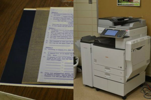 THE CHANGE IN THE PRINTING PROCESS-- (Left) Ditto paper, composed of one carbon ink sheet, an original copy sheet, and a thin sheet in between separating the ink and original copies. These sheets were used by the mimeograph, which was used as the main copying method in the 20th century. (Right) The present day copying machine requires only copy paper and a computer source to print and make copies.