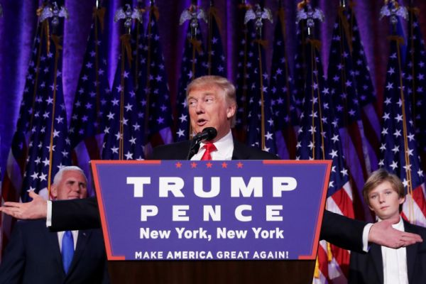 DONALD TRUMP SET TO BECOME 45TH PRESIDENT -- Republican president-elect Donald Trump delivers his acceptance speech during his election night event.