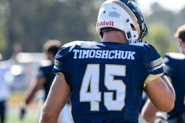 NIKOLAY TIMOSHCHUK PLAYS AS 45 FOR THE CHARLESTON SOUTHERN BUCCANEERS -- Timoshchuk shows off his colors as a linebacker for the Buccaneers.