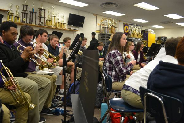 DID YOU HEAR THAT?-- Central band students begin losing hearing in small band room.