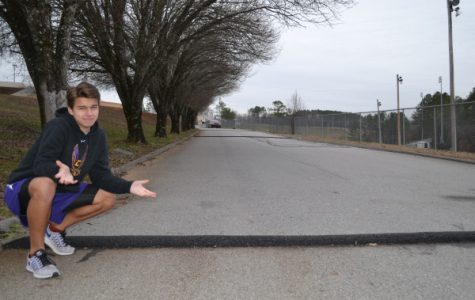 SPEED BUMPS EVERYWHERE -- Columnist Jared Eddy stands next to new speed bump at Central High.