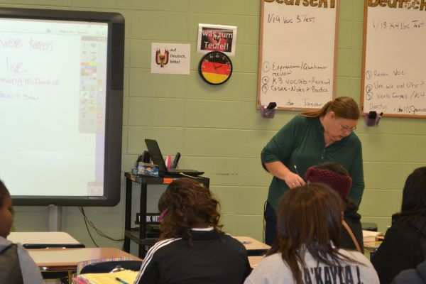 TEACHER SPOTLIGHT:  MRS. DOBBS CONTINUES TO ENLIGHTEN STUDENTS   THROUGH GERMAN AND LATIN -- Mrs. Dobbs teaches hard-working students.