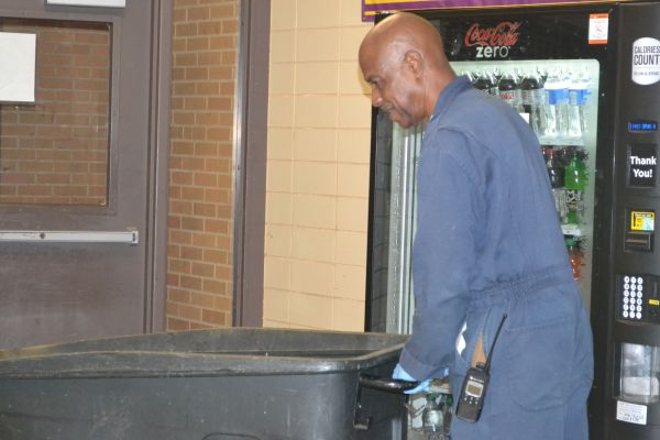 CENTRAL WELCOMES NEW JANITOR RICHARD OWENS -- Richard Owens is pictured working diligently on Central's campus.