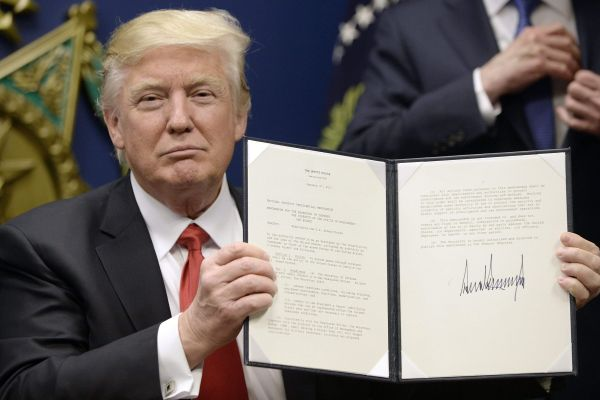 TRUMP SIGNS ONE OF 13 EXECUTIVE ORDERS -- In the wake of Trump's first ten days, protests have broken out all over the nation.