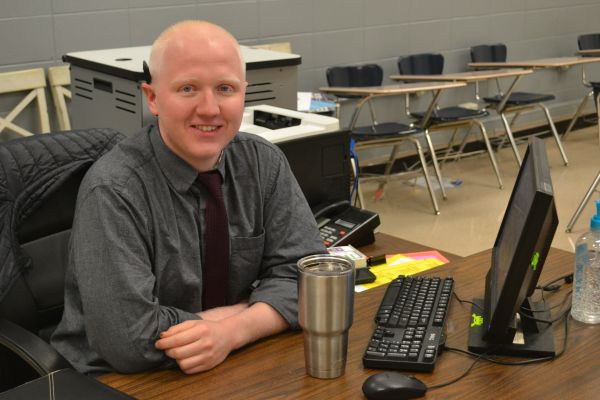 JAMES MASSENGALE COMES TO CENTRAL HIGH SCHOOL -- James Massengale takes over Mrs. Hollingsworth's classes.