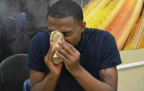 BUT SERIOUSLY: WHY THE FLU-- Senior D'Andre Anderson is suffering from cold and flu symptoms.