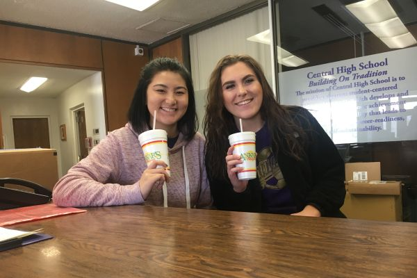 FORTY-ONE SENIORS IN '21 CLUB' QUALIFY FOR $4,000 HOPE SCHOLARSHIP -- Senior students Tori Bruno-Arimura (Left) and Hannah Holmberg (Right) enjoy a much needed break after studying for the ACT.