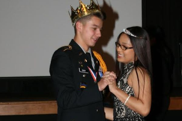 ALEXIS KEOHAVONG IS QUEEN, JARED EDDY IS KING OF '17 MILITARY BALL -- Jared Eddy and Alexis Keohavong share a dance on this memorable night.