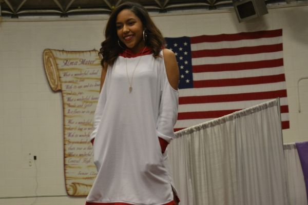 FASHION DESIGN CLASS WOWS ITS AUDIENCE -- Teyannah Bush shows off her handmade white and red hooded dress.
