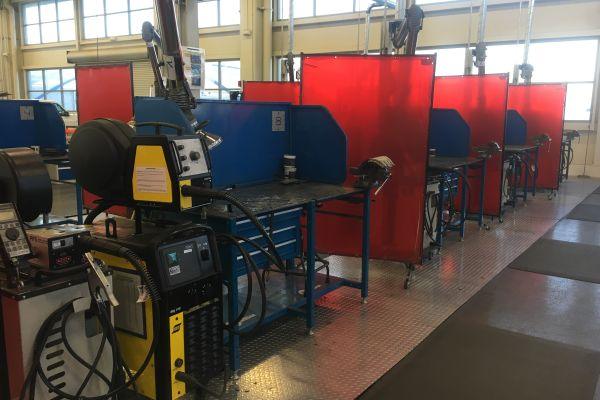 READY FOR STUDENTS -- VW's Mechatronics Akademie has three welding stations where students learn the basics of welding.