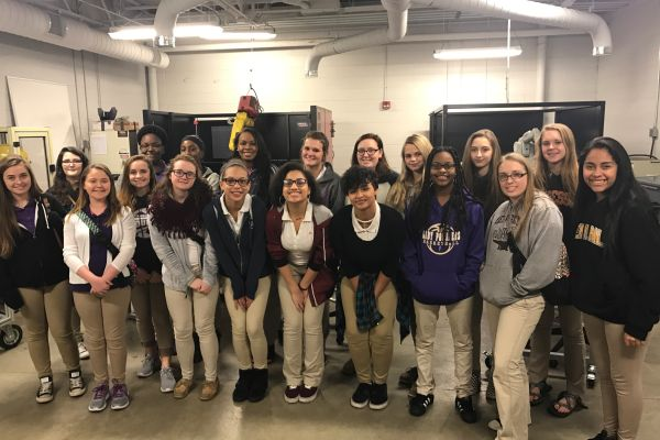 GIRLS STEM FROM CENTRAL WENT TO CHATTANOOGA STATE ON A FIELD TRIP -- STEM  girls from Central pose for a picture at Chatt. State