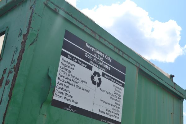 RECYCLING RETURNS -- The list of recyclables hangs on the side of the Central recycling bin.