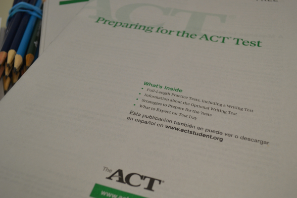 SENIORS ARE PREPARING FOR FREE ACT RETAKE -- Seniors are using these practice books in preparation for the actual ACT test.