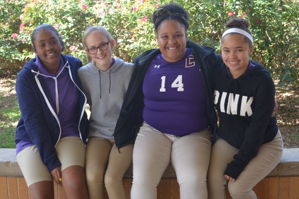 FRESHMEN CLASS OFFICERS 2017-2018 -- (Left to right) Newly elected Treasurer Sakinah Rashid, Secretary Zoey Greene, Vice President Ariya McGhee, and President Destiny Smith are pictured together.