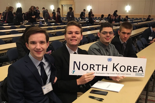 CENTRAL REPRESENTS NORTH KOREA IN MODEL U.N. -- Preston Fore, Jake Johns, John Britt, and Matthew Frazier represent the North Korean delegation at annual SHSMUN.