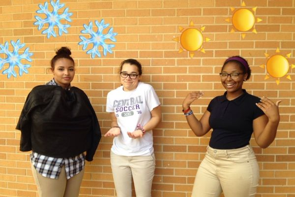 HOT OR NOT? -- (left to right) Seniors Ashley Crum and Madison Young help me  figure out the school temperature.