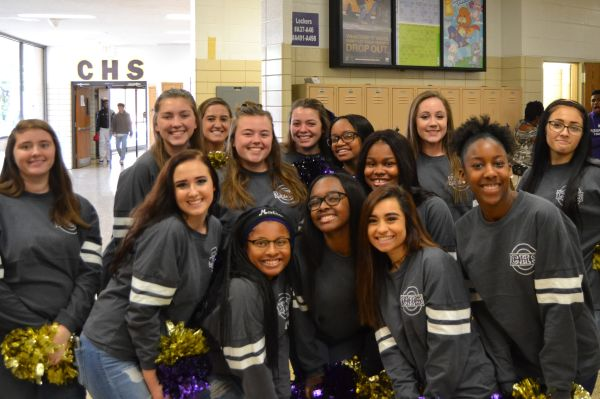 WE ARE CENTRAL -- Central's Cheer Squad gets ready for the Pounder Walk throughout the school to celebrate the football team going to the second round of the TSSAA playoffs.